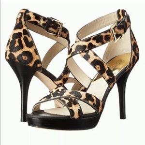 Michael Kors Evie Leopard Print Sandal 6